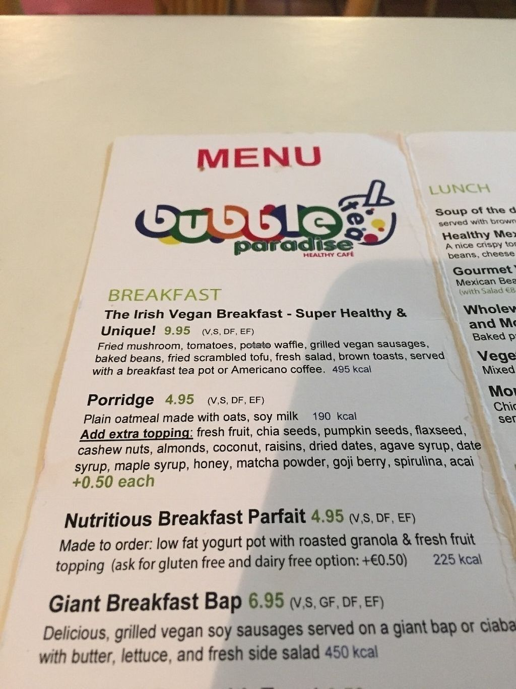 "Photo of CLOSED: Bubble Tea Paradise Healthy Cafe  by <a href=""/members/profile/StevieSurf"">StevieSurf</a> <br/>Menu <br/> February 12, 2017  - <a href='/contact/abuse/image/50008/225795'>Report</a>"