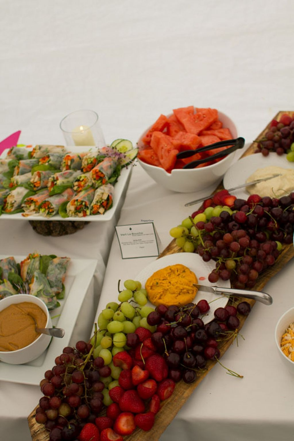 """Photo of Vert La Bouche  by <a href=""""/members/profile/badvegancook"""">badvegancook</a> <br/>Spring rolls and cheese platters <br/> September 27, 2015  - <a href='/contact/abuse/image/50052/119338'>Report</a>"""