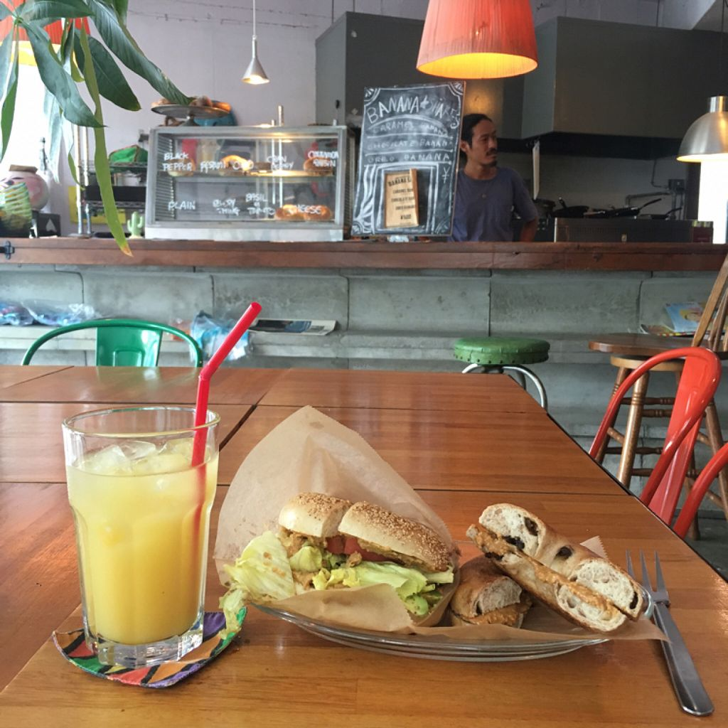 """Photo of Cafe Cactus EatRip  by <a href=""""/members/profile/VivecaDanielson"""">VivecaDanielson</a> <br/>hummus bagel, peanut butter bagel <br/> July 17, 2016  - <a href='/contact/abuse/image/50062/160380'>Report</a>"""