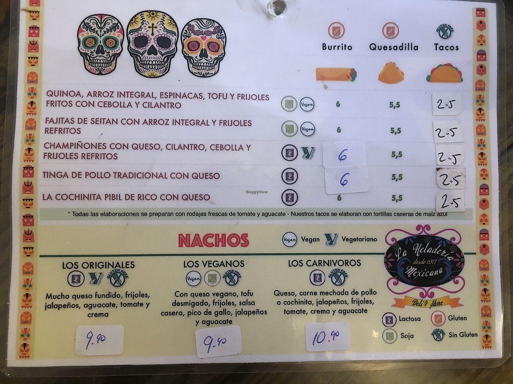 "Photo of La Heladeria Mexicana  by <a href=""/members/profile/crazyliljess"">crazyliljess</a> <br/>menu <br/> July 23, 2017  - <a href='/contact/abuse/image/50086/283653'>Report</a>"