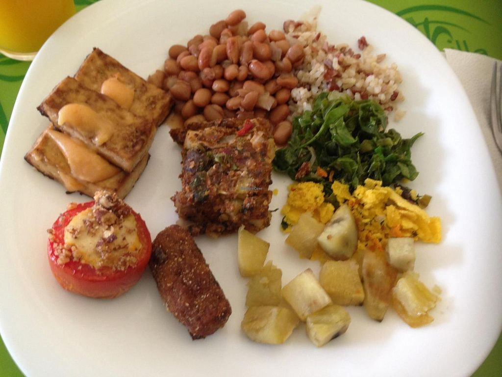 """Photo of Villa Natural  by <a href=""""/members/profile/Paolla"""">Paolla</a> <br/>Few vegan options on Saturday: rice, beans, braised cabbage, glam, roasted sweet potato, tofu with dried tomato dressing, tomato with ''tofupiry'', healthy baked pie <br/> November 22, 2014  - <a href='/contact/abuse/image/50111/86225'>Report</a>"""