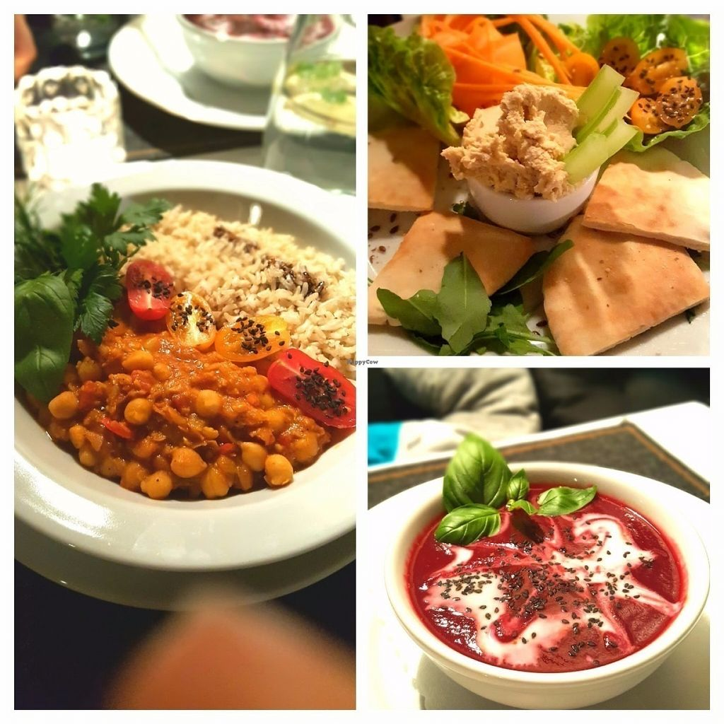 """Photo of CLOSED: Zielona Pracownia  by <a href=""""/members/profile/NeleLiivlaid"""">NeleLiivlaid</a> <br/>Beetroot soup, hummus with pita bread and chickpea stew with brown rice.  <br/> July 15, 2016  - <a href='/contact/abuse/image/50121/160039'>Report</a>"""