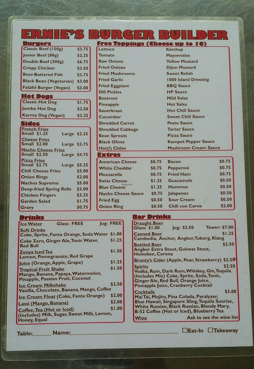 "Photo of CLOSED: Ernie's Burgers  by <a href=""/members/profile/Mike%20Munsie"">Mike Munsie</a> <br/>menu <br/> September 11, 2017  - <a href='/contact/abuse/image/50135/303234'>Report</a>"