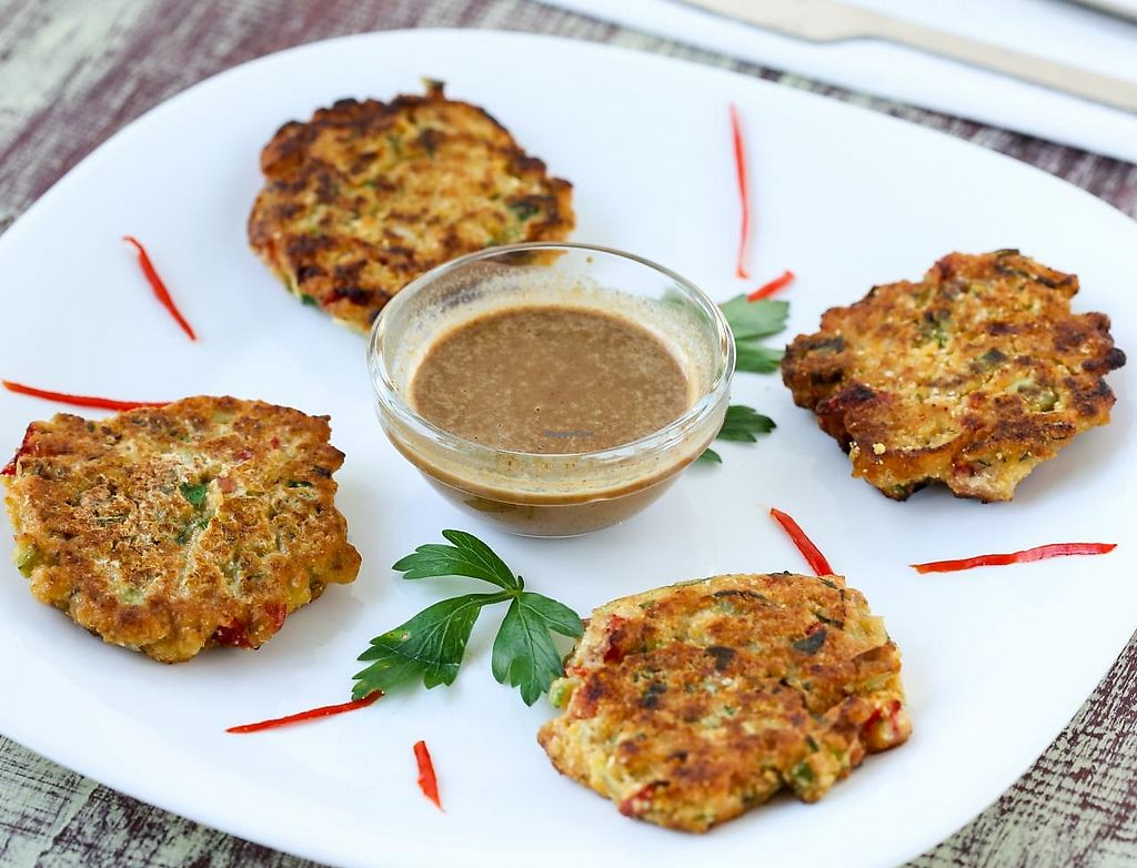 """Photo of CLOSED: Soma Vital Food  by <a href=""""/members/profile/KoLe"""">KoLe</a> <br/>One of my favorite ones- vegetable vegan schnitzels with homemade peanut butter dip with soya sauce, coconut milk, cooked in grapeseed oil,mmmm! <br/> August 27, 2014  - <a href='/contact/abuse/image/50142/235647'>Report</a>"""