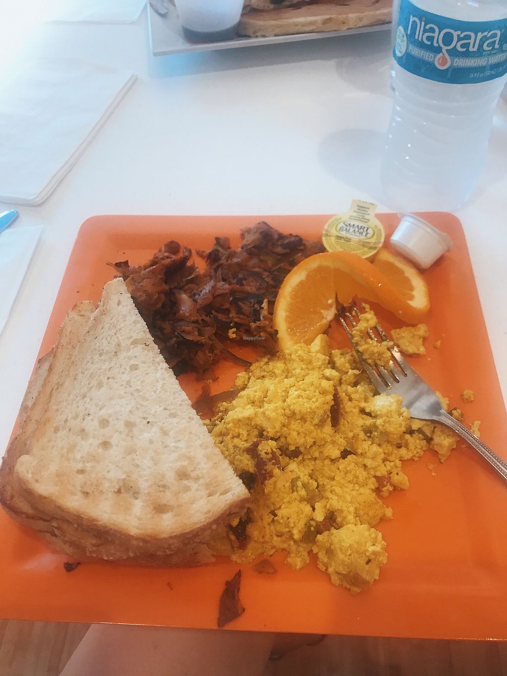 "Photo of Scramble  by <a href=""/members/profile/bbaussie"">bbaussie</a> <br/>Vegan Veggie Scramble with Sweet Potato Hash and Sourdough Bread <br/> August 25, 2017  - <a href='/contact/abuse/image/50217/297062'>Report</a>"