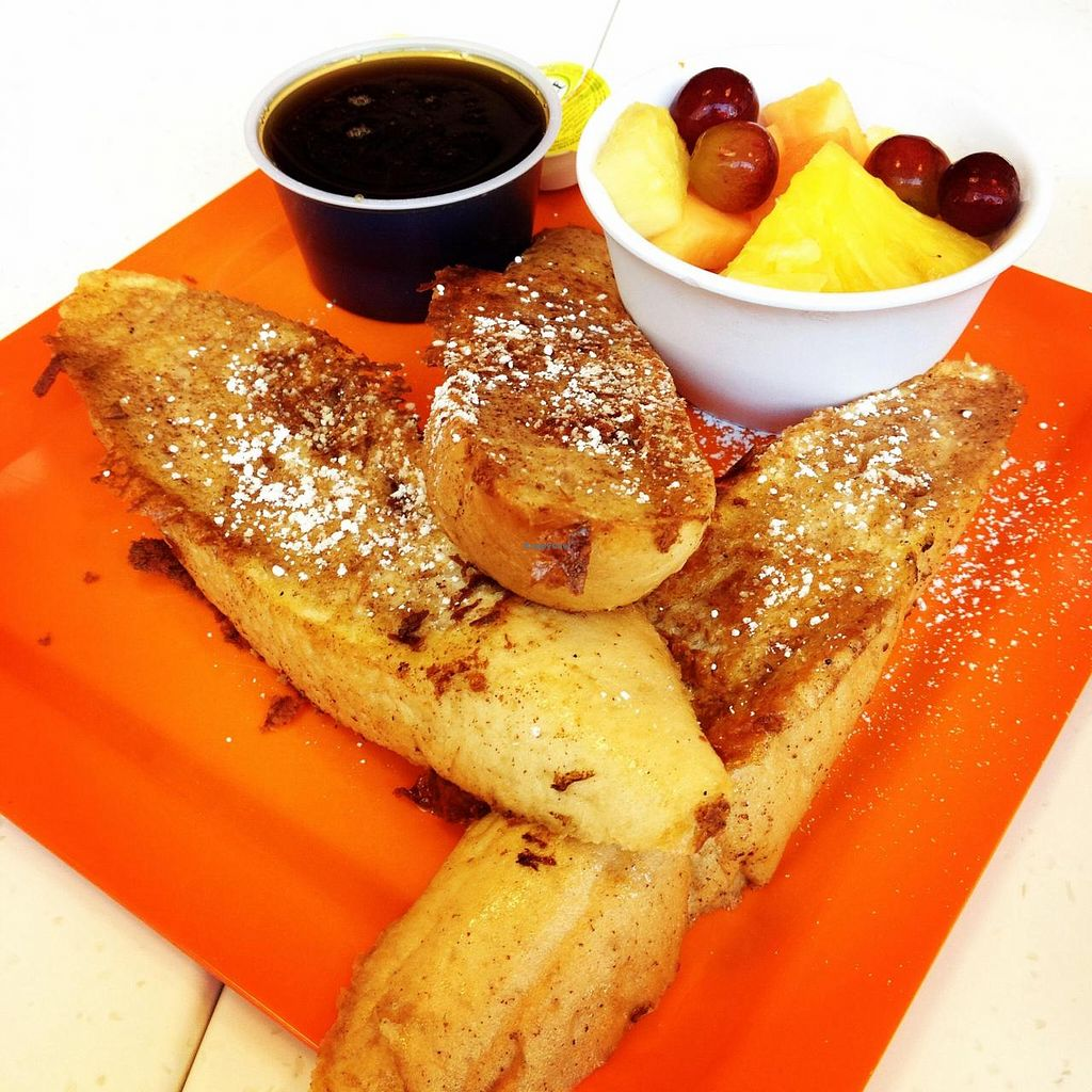 "Photo of Scramble  by <a href=""/members/profile/Tigra220"">Tigra220</a> <br/>Vegan French Toast, sprinkled w/ powdered sugar. Served w/ vegan butter & vegan syrup. Fresh fruit on the side.  <br/> August 15, 2014  - <a href='/contact/abuse/image/50217/77091'>Report</a>"