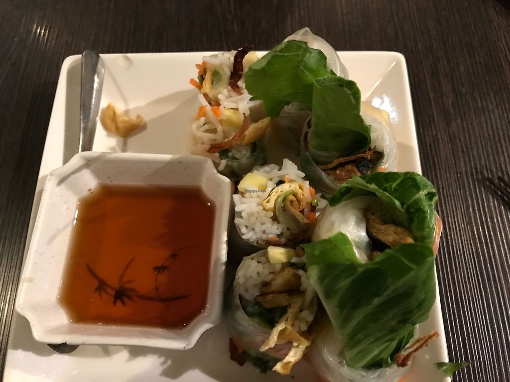 """Photo of Andy Nguyen's  by <a href=""""/members/profile/Alysoun%20Mahoney"""">Alysoun Mahoney</a> <br/>Karma rolls - fresh mango, tofu, carrots, daikon wrapped in rice paper with soy dipping sauce <br/> October 11, 2017  - <a href='/contact/abuse/image/5021/314156'>Report</a>"""