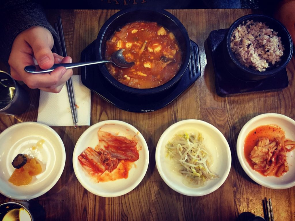 """Photo of CLOSED: Babione - 바비오네  by <a href=""""/members/profile/StephanieRoth"""">StephanieRoth</a> <br/>kimchi jjigae and banchan  <br/> January 18, 2016  - <a href='/contact/abuse/image/50225/132955'>Report</a>"""