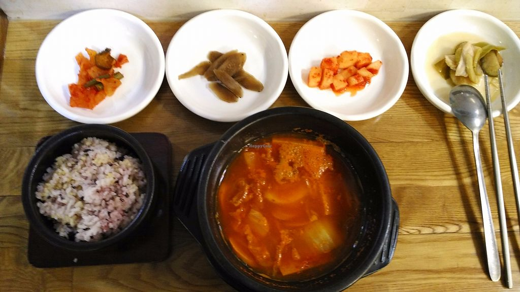 """Photo of CLOSED: Babione - 바비오네  by <a href=""""/members/profile/LaiNamKhim"""">LaiNamKhim</a> <br/>Army stew set (budae jjigae), labelled as Kimchi soup with sausage. This is not found on the sheet of menu with pictures. I saw this on the wall and ordered it. It was really delicious. Too bad the soup was only half of the stone bowl <br/> October 24, 2017  - <a href='/contact/abuse/image/50225/318384'>Report</a>"""