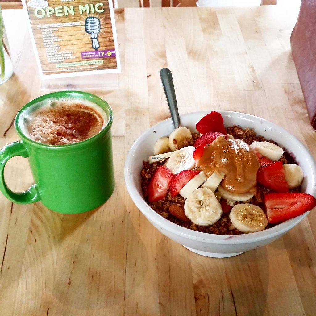 """Photo of Trilogy Sanctuary  by <a href=""""/members/profile/jugiem"""">jugiem</a> <br/>acai bowl and chai <br/> May 21, 2015  - <a href='/contact/abuse/image/50264/103008'>Report</a>"""