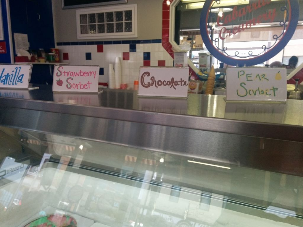 """Photo of Cabarrus Creamery  by <a href=""""/members/profile/MizzB"""">MizzB</a> <br/>Featured flavors of the date, in addition to regular flavors in case. Only vegan options are sorbets.  <br/> July 9, 2016  - <a href='/contact/abuse/image/50295/158626'>Report</a>"""