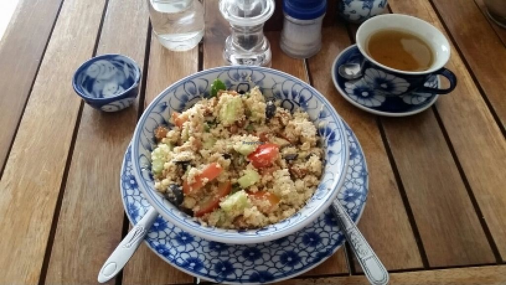 "Photo of Epic Arts Cafe  by <a href=""/members/profile/FraukeFerber"">FraukeFerber</a> <br/>Yummy Chick Pea and Couscous Salad <br/> April 26, 2016  - <a href='/contact/abuse/image/50298/146397'>Report</a>"