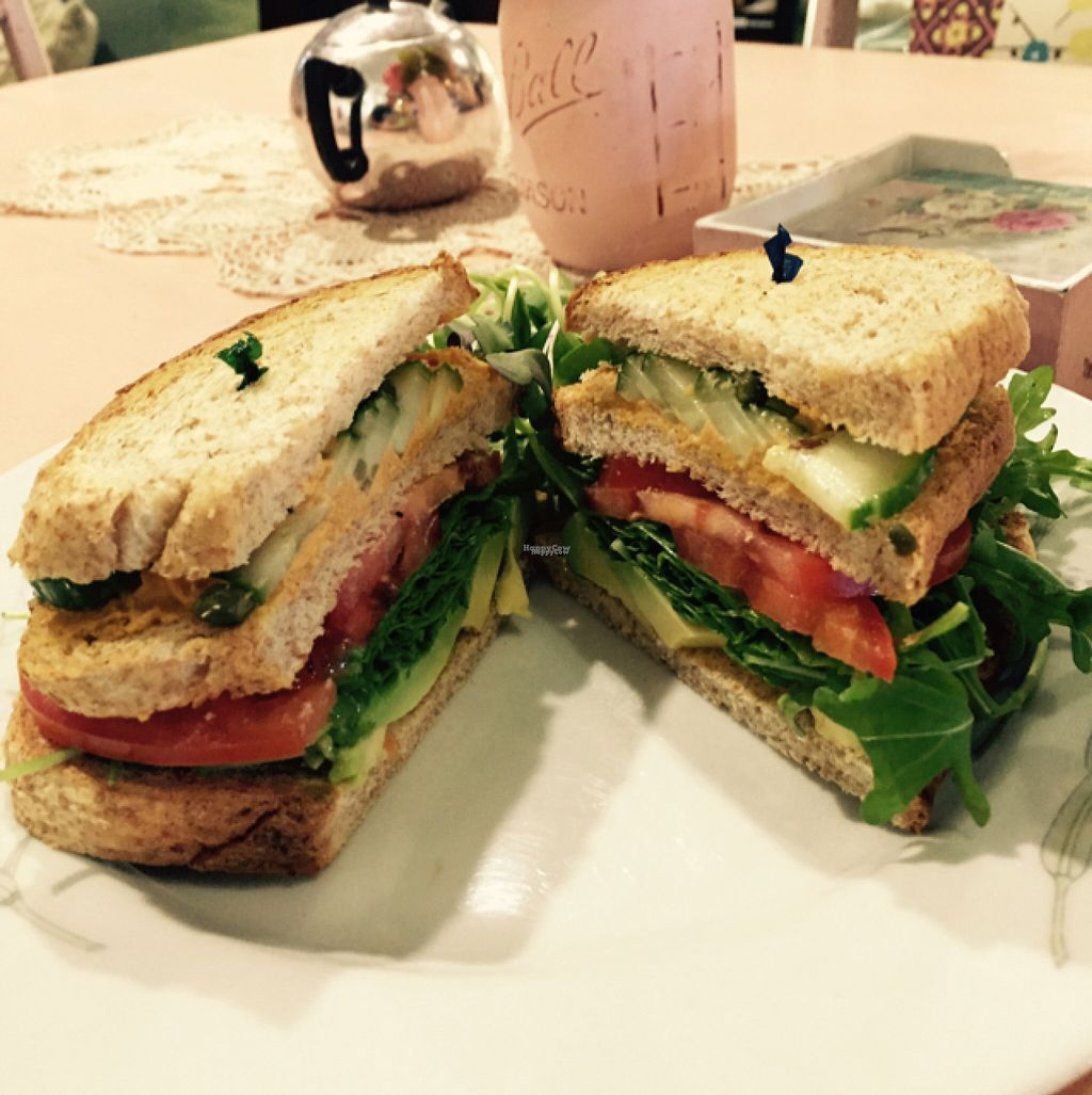 "Photo of Lafew Teahouse and Kombucha Bar   by <a href=""/members/profile/TonyPreston"">TonyPreston</a> <br/>Vegan Club Sandwich omg the bomb <br/> August 5, 2016  - <a href='/contact/abuse/image/50302/165651'>Report</a>"
