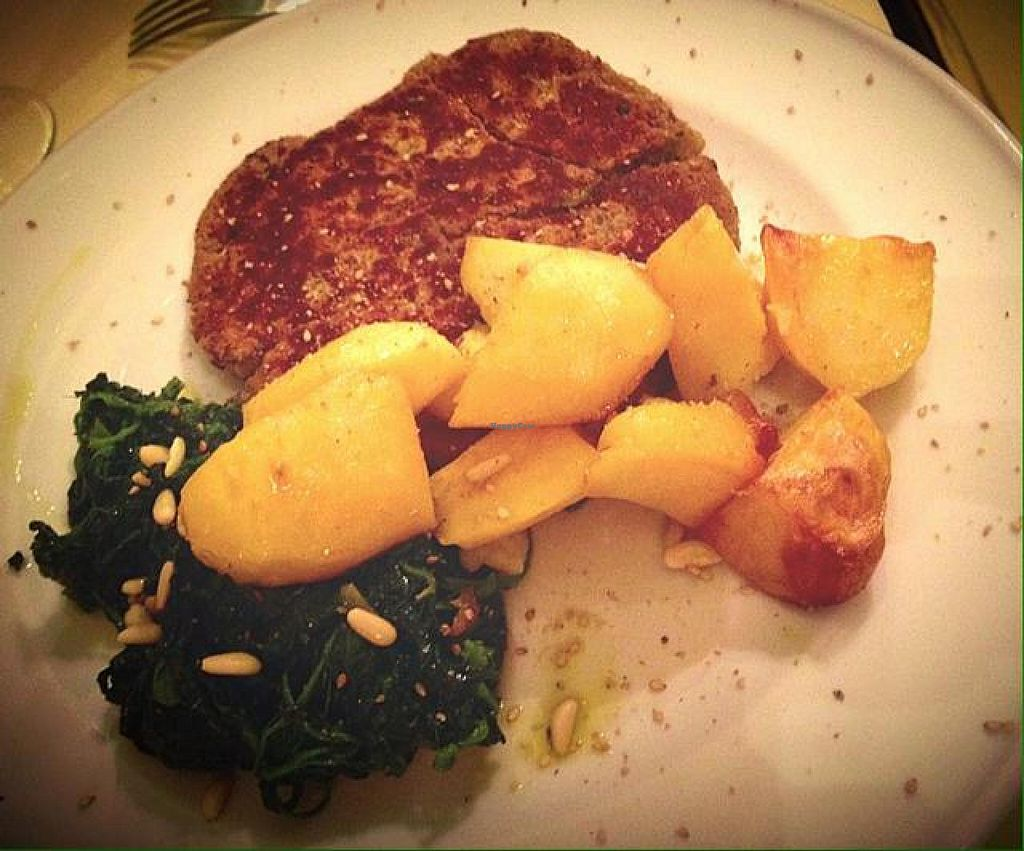 """Photo of La Colubrina  by <a href=""""/members/profile/LauraRita"""">LauraRita</a> <br/>vegan cotoletta with herbs and roasted potatoes <br/> September 19, 2014  - <a href='/contact/abuse/image/50323/80326'>Report</a>"""