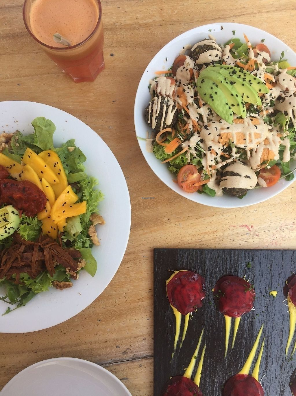 """Photo of Wild Beets  by <a href=""""/members/profile/Yiselle"""">Yiselle</a> <br/>Falafel salad Mango salad Beetroot ravioli <br/> May 8, 2017  - <a href='/contact/abuse/image/50355/257079'>Report</a>"""