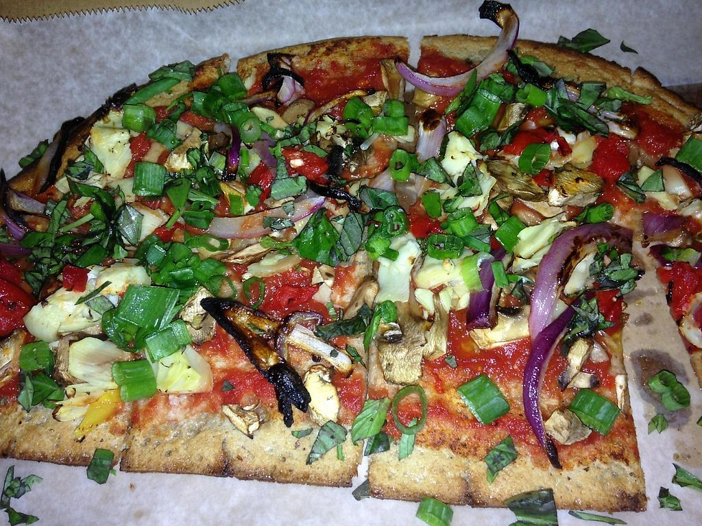 """Photo of CLOSED: Custom Fuel Pizza  by <a href=""""/members/profile/cookiem"""">cookiem</a> <br/>Cheeseless vegan gluten-free pizza <br/> April 12, 2015  - <a href='/contact/abuse/image/50360/191781'>Report</a>"""