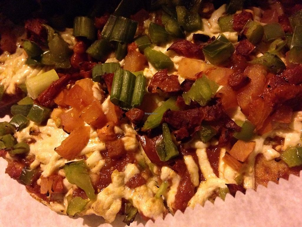 """Photo of CLOSED: Custom Fuel Pizza  by <a href=""""/members/profile/cookiem"""">cookiem</a> <br/>Gluten free vegan pizza with Daiya cheese, red, green and jalapeño peppers and some scallions <br/> April 12, 2015  - <a href='/contact/abuse/image/50360/191782'>Report</a>"""