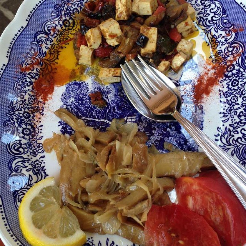 """Photo of Bio Sound System  by <a href=""""/members/profile/efetcho"""">efetcho</a> <br/>Seitan Venezia (Ventian style) pictured on bottom, tofu with roasted veggies on top portion of the photo <br/> August 14, 2014  - <a href='/contact/abuse/image/50371/76981'>Report</a>"""