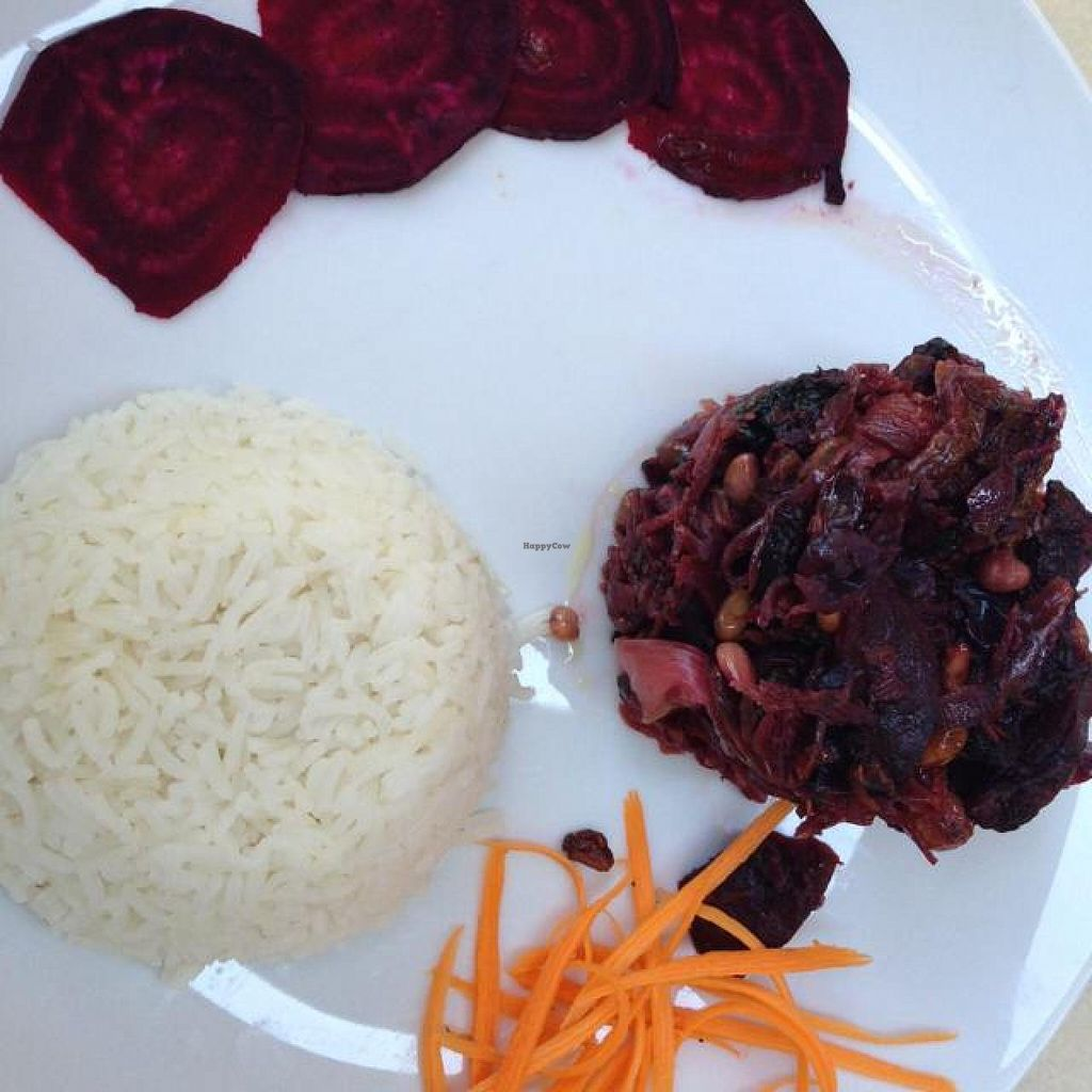 """Photo of Bio Sound System  by <a href=""""/members/profile/efetcho"""">efetcho</a> <br/>Sautéed spinach and beets with raisins and nuts, served with rice  <br/> August 14, 2014  - <a href='/contact/abuse/image/50371/76982'>Report</a>"""