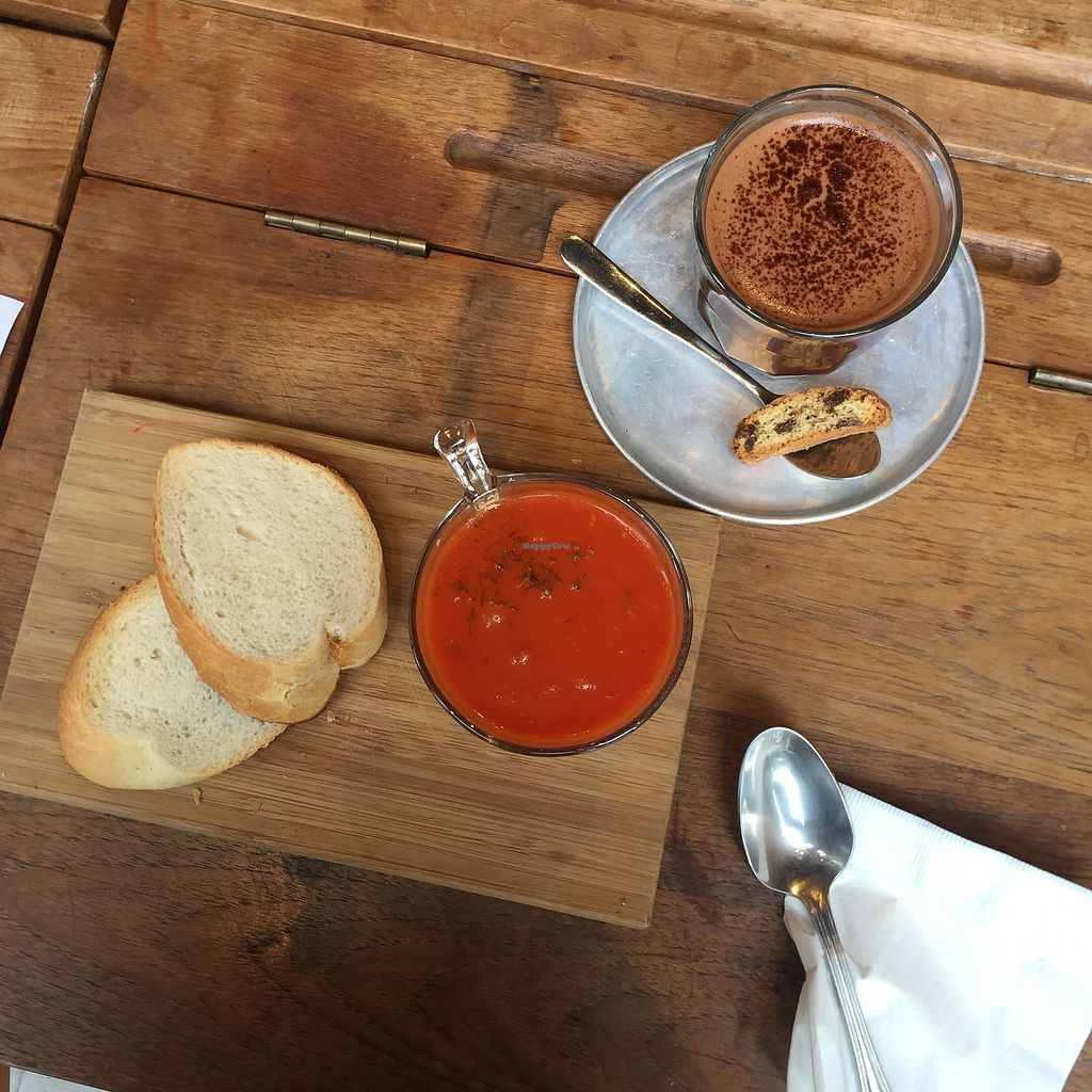 "Photo of MUM Veggie Cafe  by <a href=""/members/profile/SamanthaIngridHo"">SamanthaIngridHo</a> <br/>Dark Chocolate (with almond milk) and Tomato soup <br/> September 17, 2017  - <a href='/contact/abuse/image/50422/305245'>Report</a>"
