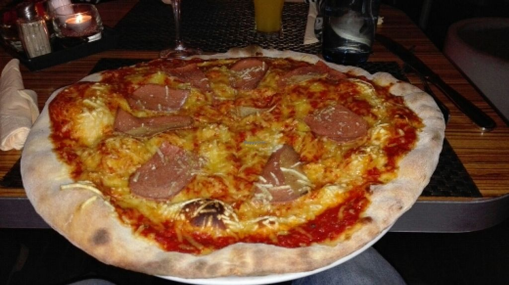 """Photo of Opus Essen and Trinken  by <a href=""""/members/profile/IRoNiiX"""">IRoNiiX</a> <br/>Pizza with vegan cheese and ham <br/> February 23, 2016  - <a href='/contact/abuse/image/50427/137413'>Report</a>"""