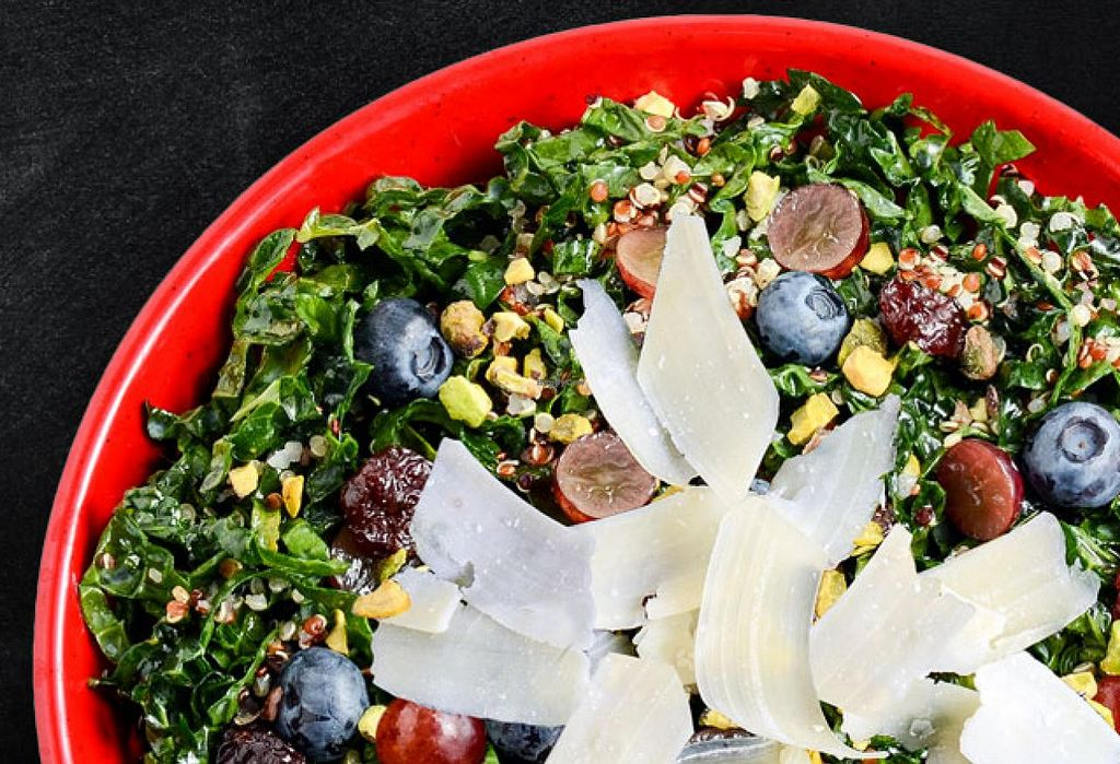 """Photo of Cafe Zupas  by <a href=""""/members/profile/Meggie%20and%20Ben"""">Meggie and Ben</a> <br/>Vegetarian kale and quinoa salad (can be veganized without cheese) <br/> January 27, 2015  - <a href='/contact/abuse/image/50457/91501'>Report</a>"""