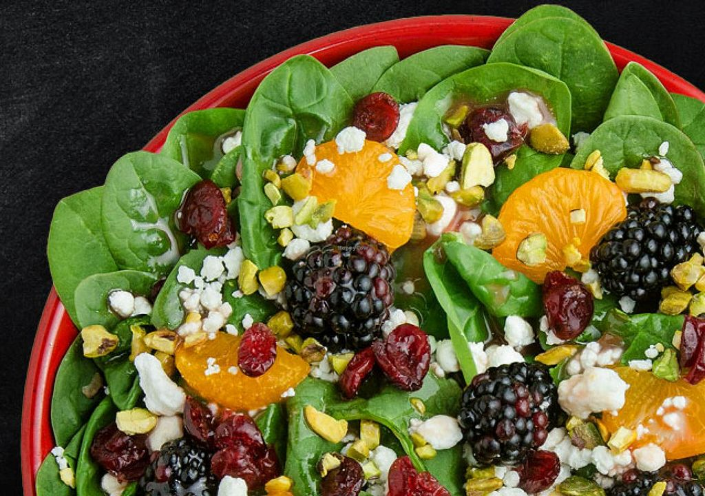 """Photo of Cafe Zupas  by <a href=""""/members/profile/Meggie%20and%20Ben"""">Meggie and Ben</a> <br/>Citrus berry spinach salad (can be veganized without cheese) <br/> January 27, 2015  - <a href='/contact/abuse/image/50457/91502'>Report</a>"""