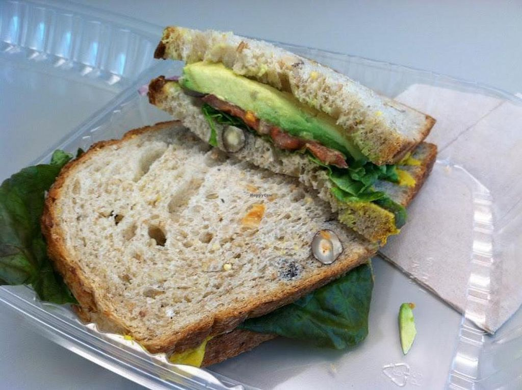 """Photo of Kneaders  by <a href=""""/members/profile/Meggie%20and%20Ben"""">Meggie and Ben</a> <br/>Veggie avocado sandwich made vegan <br/> August 22, 2014  - <a href='/contact/abuse/image/50460/77920'>Report</a>"""