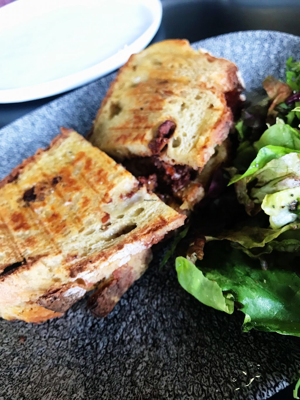 """Photo of Bi Nevi Deli  by <a href=""""/members/profile/veganoteacher"""">veganoteacher</a> <br/>Toast with Cashew Cheese <br/> March 31, 2018  - <a href='/contact/abuse/image/50484/378966'>Report</a>"""