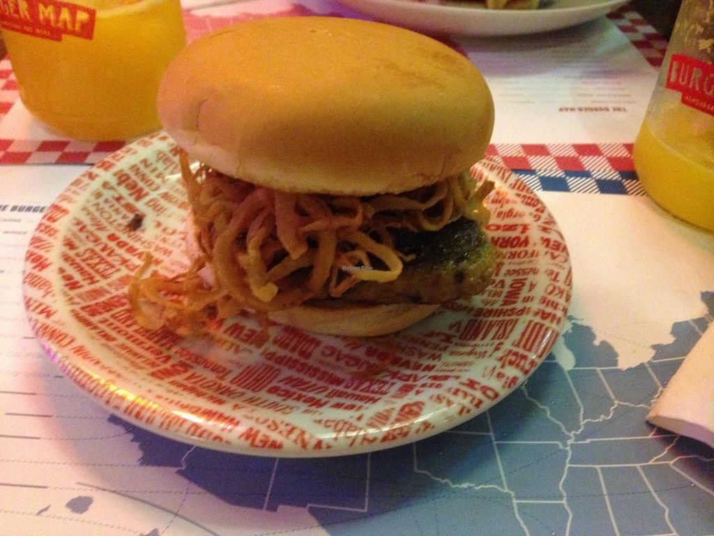 "Photo of The Burger Map  by <a href=""/members/profile/Paolla"">Paolla</a> <br/>BBQ vegan burger: soy burger, barbecue sauce, onion strings and garlic mayo <br/> August 31, 2014  - <a href='/contact/abuse/image/50499/78764'>Report</a>"