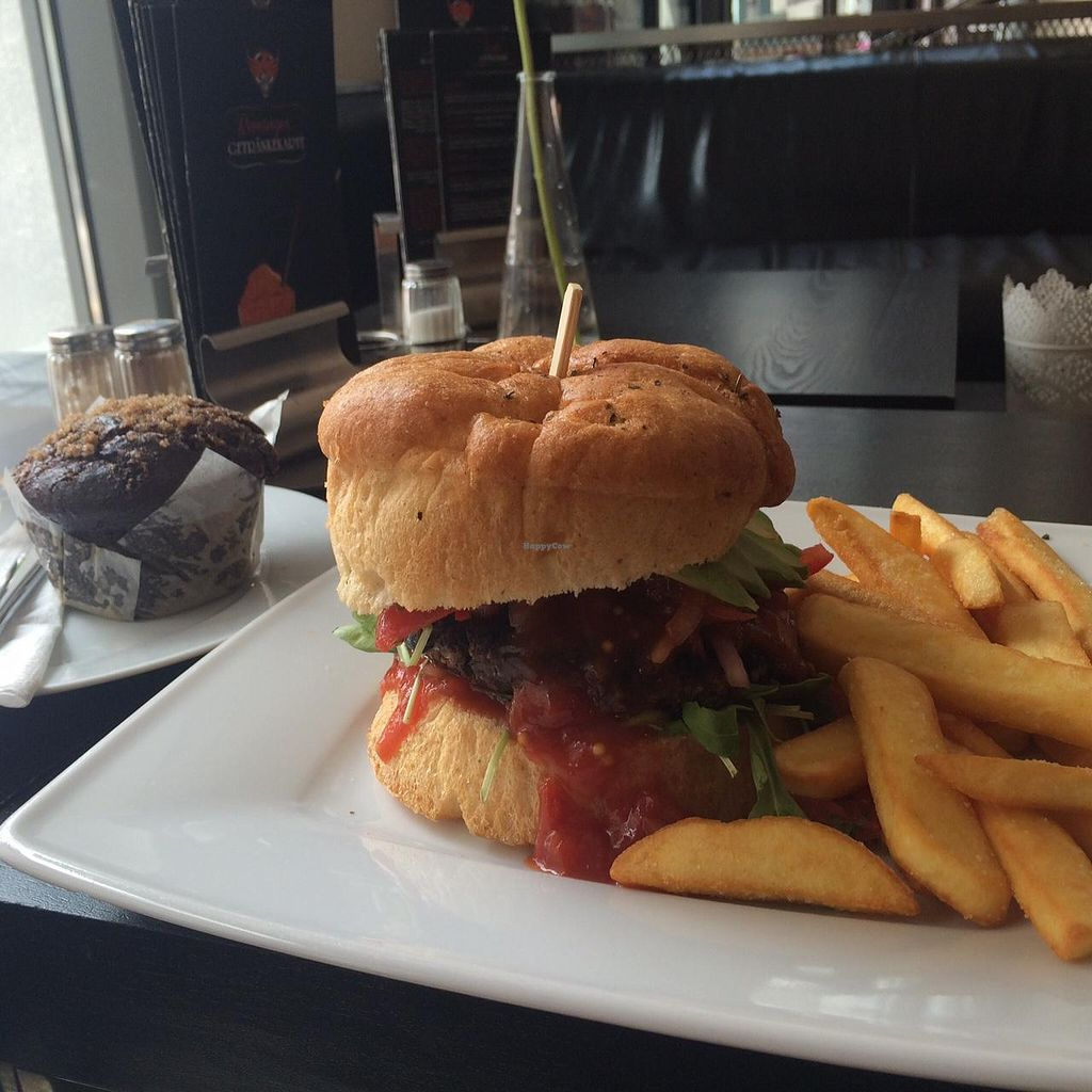 """Photo of Phoenix Coffee  by <a href=""""/members/profile/Plantpower"""">Plantpower</a> <br/>Black bean burger and choc muffin <br/> May 22, 2015  - <a href='/contact/abuse/image/50533/103060'>Report</a>"""