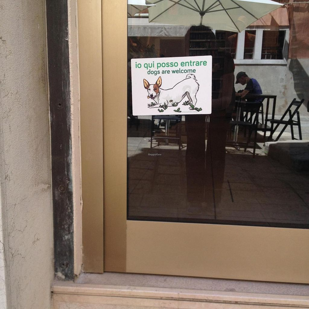 """Photo of La Serenissima - San Marco  by <a href=""""/members/profile/pixelstuff"""">pixelstuff</a> <br/>Entry with the welcome sign for dogs. The tables in the reflection belong to a restaurant, they are actually helpful to find the place <br/> June 28, 2015  - <a href='/contact/abuse/image/5056/107514'>Report</a>"""