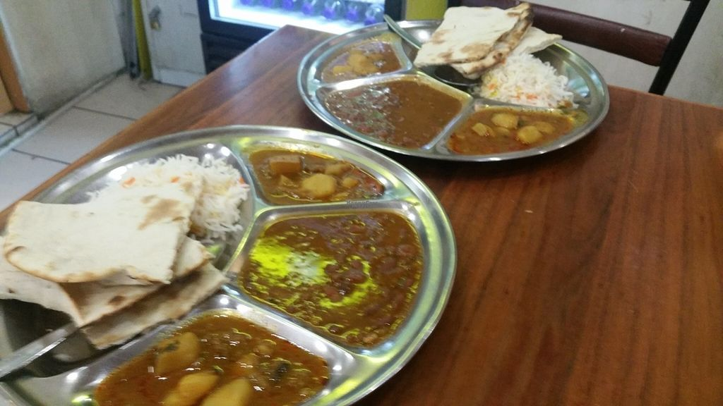 """Photo of Om Vegetarian - Capitol Arcade  by <a href=""""/members/profile/KatieBatty"""">KatieBatty</a> <br/>Two vegan thalis <br/> September 6, 2016  - <a href='/contact/abuse/image/50591/173921'>Report</a>"""