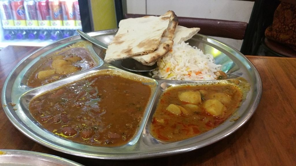 """Photo of Om Vegetarian - Capitol Arcade  by <a href=""""/members/profile/KatieBatty"""">KatieBatty</a> <br/>Vegan thali with plain naan (no butter) <br/> September 6, 2016  - <a href='/contact/abuse/image/50591/173922'>Report</a>"""