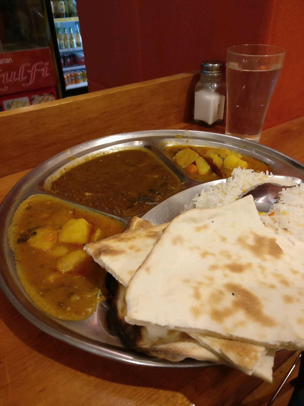 """Photo of Om Vegetarian - Capitol Arcade  by <a href=""""/members/profile/Aloo"""">Aloo</a> <br/>vegan thali <br/> March 16, 2018  - <a href='/contact/abuse/image/50591/371158'>Report</a>"""
