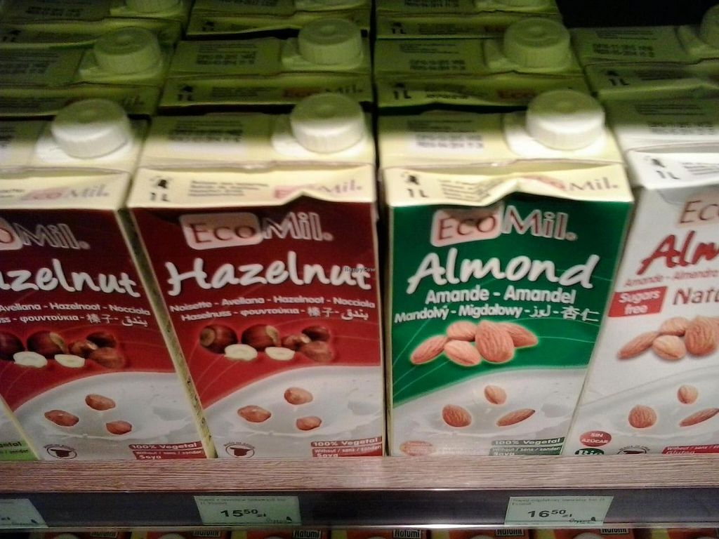 """Photo of CLOSED: Organic Farma Zdrowia - Targowa  by <a href=""""/members/profile/Laylah"""">Laylah</a> <br/>A selection of plant milks <br/> September 1, 2014  - <a href='/contact/abuse/image/50598/78775'>Report</a>"""