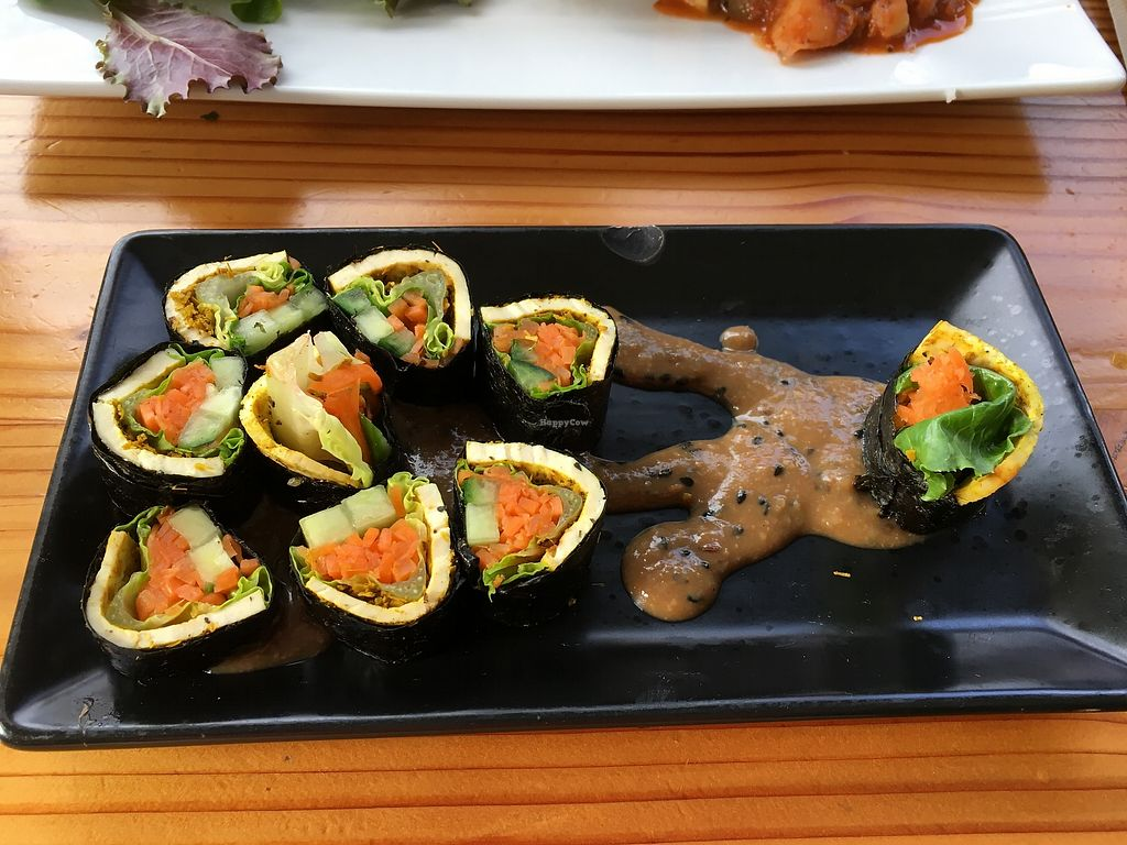 """Photo of Lotus Seed Vegan  by <a href=""""/members/profile/vegan%20frog"""">vegan frog</a> <br/>Nori roll <br/> October 15, 2017  - <a href='/contact/abuse/image/50638/315635'>Report</a>"""