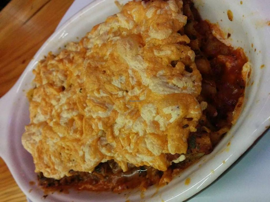 """Photo of Lotus Seed Vegan  by <a href=""""/members/profile/carson"""">carson</a> <br/>Eggplant & zucchini Organic Brown Rice Lasagna Our home made tomato sauce, top with sunflower, sesame, basil pesto. Yummy! (with vegan cheese of course)  <br/> November 11, 2014  - <a href='/contact/abuse/image/50638/85241'>Report</a>"""