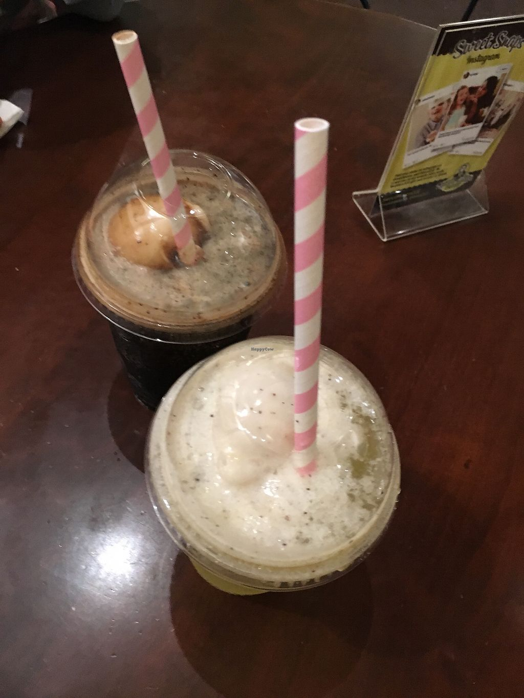 """Photo of Sweet Moses Soda Fountain and Treat Shop  by <a href=""""/members/profile/veganrosebud"""">veganrosebud</a> <br/>Root beer float and passion fruit ice cream soda to-go <br/> July 18, 2017  - <a href='/contact/abuse/image/50645/281645'>Report</a>"""