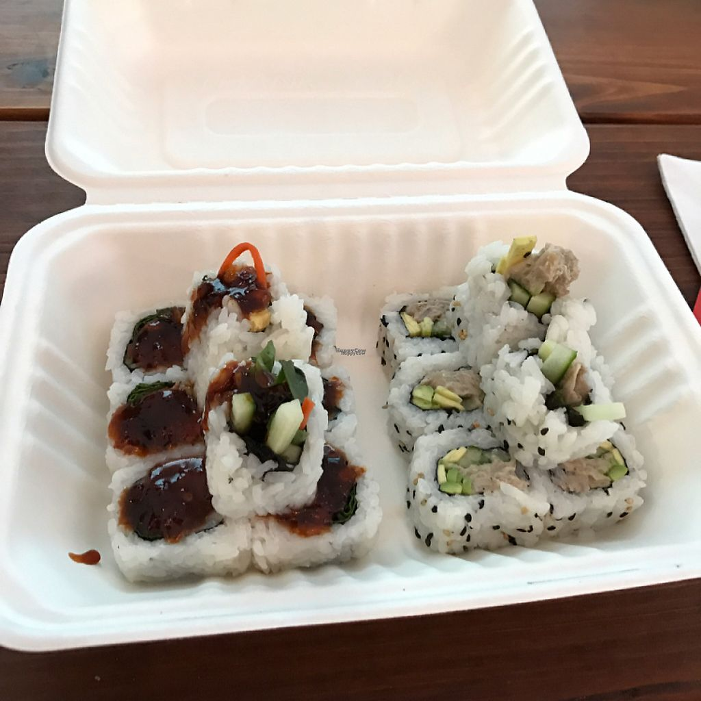 """Photo of SushiLove - Food Cart  by <a href=""""/members/profile/lindseymiller"""">lindseymiller</a> <br/>Bok bok and Avalon, CA rolls  <br/> April 22, 2017  - <a href='/contact/abuse/image/50708/250840'>Report</a>"""