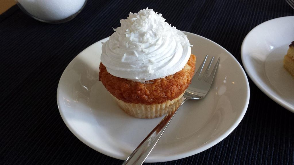 "Photo of Cafe Alvar  by <a href=""/members/profile/kitty666"">kitty666</a> <br/>Vegan piña colada-cupcake <br/> July 21, 2015  - <a href='/contact/abuse/image/50768/110294'>Report</a>"