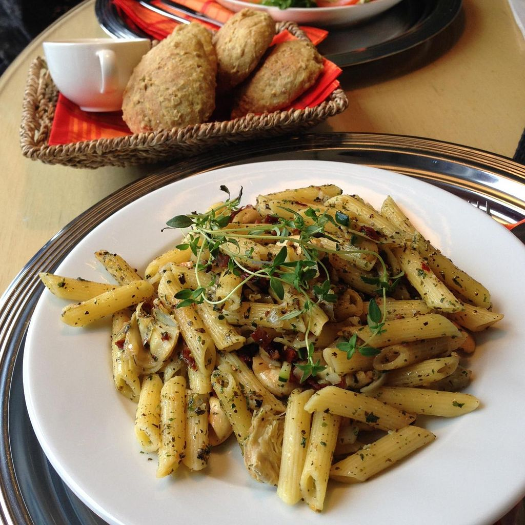 "Photo of Cafe Alvar  by <a href=""/members/profile/xsrax"">xsrax</a> <br/>Vegan pasta with zucchini, artichokes, onion, cashew and herbs <br/> September 29, 2014  - <a href='/contact/abuse/image/50768/81619'>Report</a>"