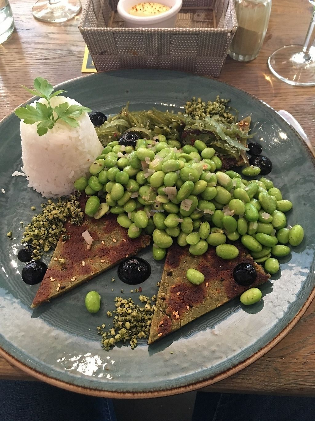 """Photo of Mykene  by <a href=""""/members/profile/aertskato"""">aertskato</a> <br/>vegan fish filet with soy beans, rice, wakame and pistachios <br/> April 14, 2017  - <a href='/contact/abuse/image/50789/247944'>Report</a>"""