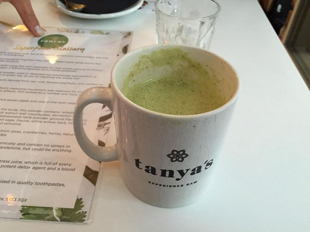 """Photo of Tanya's Cafe  by <a href=""""/members/profile/cuckooworld"""">cuckooworld</a> <br/>Weird green tea but super healthy I am sure <br/> February 9, 2015  - <a href='/contact/abuse/image/50791/92685'>Report</a>"""