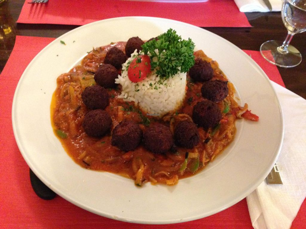"""Photo of Turk Restaurant Pizzeria  by <a href=""""/members/profile/HappyVeganCouple"""">HappyVeganCouple</a> <br/>Falafel & Rice <br/> May 25, 2015  - <a href='/contact/abuse/image/50815/103339'>Report</a>"""