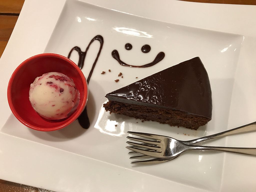 """Photo of Vege Cafe Lotus  by <a href=""""/members/profile/daninhavegan"""">daninhavegan</a> <br/>Chocolate cake <br/> September 16, 2017  - <a href='/contact/abuse/image/50820/304908'>Report</a>"""