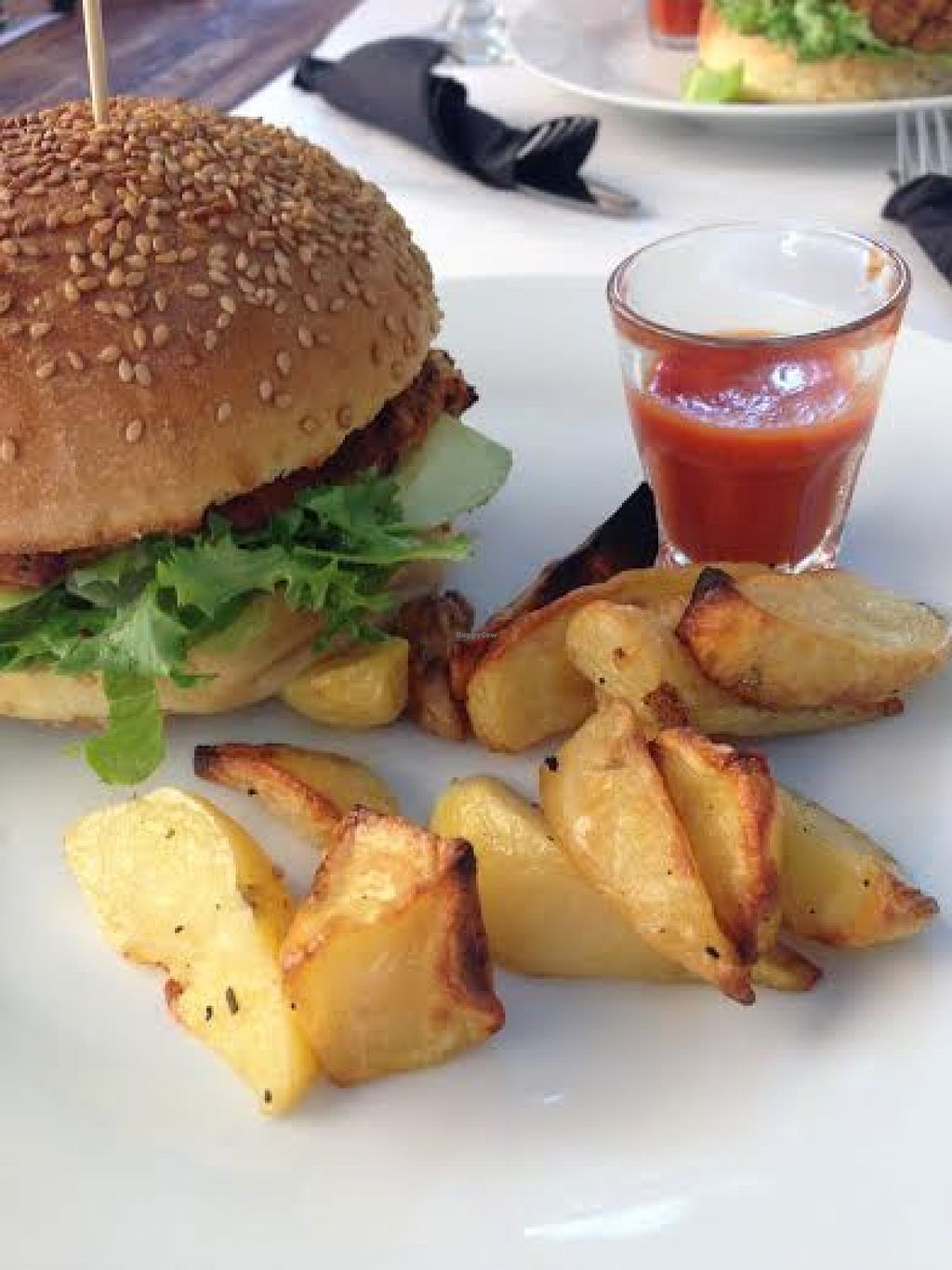 "Photo of REMOVED: Rendez Vous Ristorante  by <a href=""/members/profile/Lesley%20Anne%20Jeavons"">Lesley Anne Jeavons</a> <br/>Gorgeous vegan burger, baked potato chips and delicious homemade tomato sauce at Rendez Vous Ristorante <br/> August 17, 2015  - <a href='/contact/abuse/image/50885/114013'>Report</a>"
