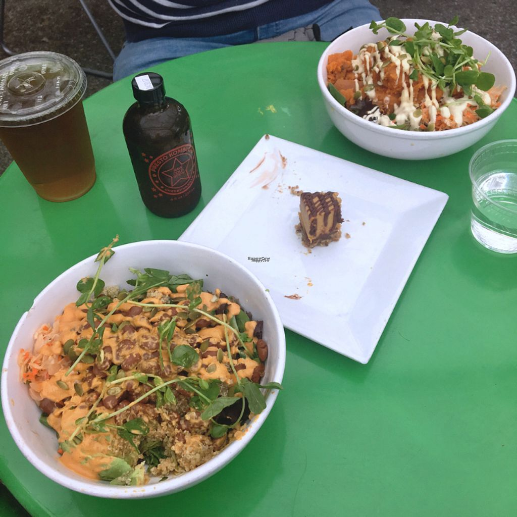 """Photo of Ezra's Enlightened Cafe  by <a href=""""/members/profile/Amy00Good"""">Amy00Good</a> <br/>Rosemary Sweet Potato Bowl (top right), Pumpkin Cheezcake, Nacho Mama's Bean Bowl (bottom left) <br/> October 29, 2016  - <a href='/contact/abuse/image/50895/185300'>Report</a>"""