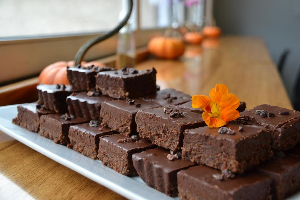 """Photo of Ezra's Enlightened Cafe  by <a href=""""/members/profile/earthychick"""">earthychick</a> <br/>We're known for our delicious Vegan ' Raw BROWNIES'. Did you know the ingredients are so clean, there is no processed flour or processed sugar. They're Dairy-free, Gluten-free & they're not even baked in the oven. Come by & get your chocolate fix <br/> October 23, 2014  - <a href='/contact/abuse/image/50895/83724'>Report</a>"""