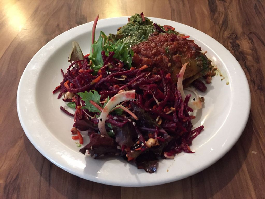 "Photo of Mantra Lounge  by <a href=""/members/profile/Wuji_Luiji"">Wuji_Luiji</a> <br/>lasagna with beetroot salad <br/> May 10, 2017  - <a href='/contact/abuse/image/50906/257520'>Report</a>"